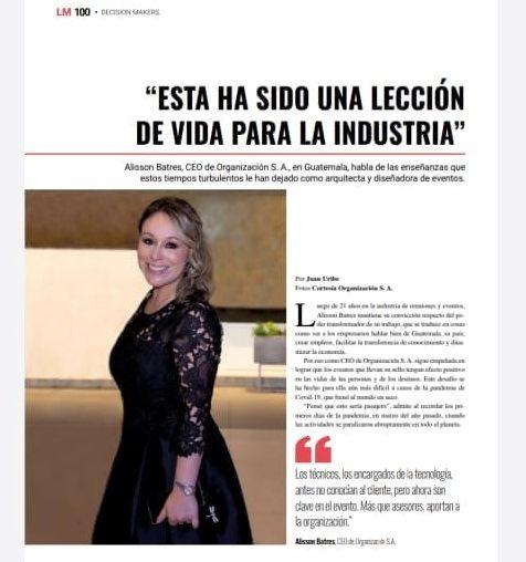 Celebrando las 100 ediciones de Latinamerica Meetings,  Lee el artículo de nuestra CEO Alisson Batres